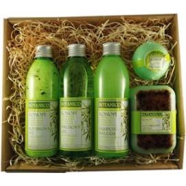 Dárkový set BOTANICO Konopí, koupelová sůl 200 ml, sprchový gel 200 ml, šampon 200 ml, mýdlo 200g + koupelová koule 70 g